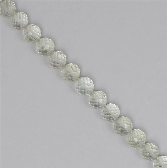 75cts Green Amethyst Graduated Faceted Rounds Approx 6 to 7mm, 18cm Strand.