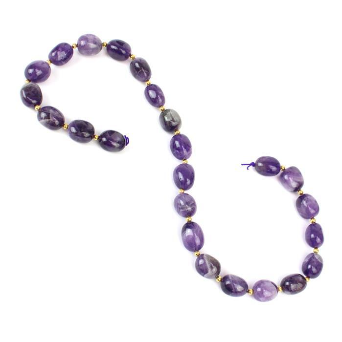 310cts Polished Amethyst Nuggets Approx 10x13mm-12x16mm 38cm/strand
