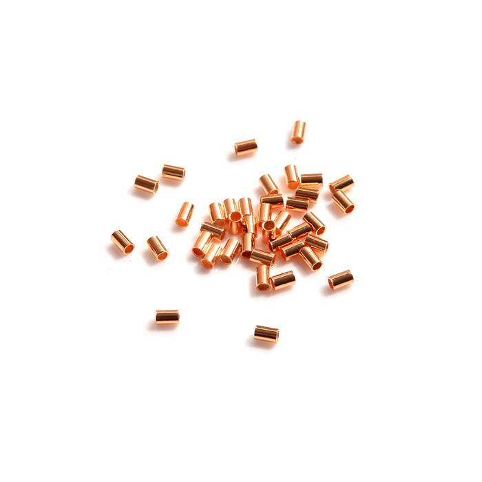 Rose Gold Plated 925 Sterling Silver Tube Spacer Beads Approx 2mm x 3mm (40pcs)