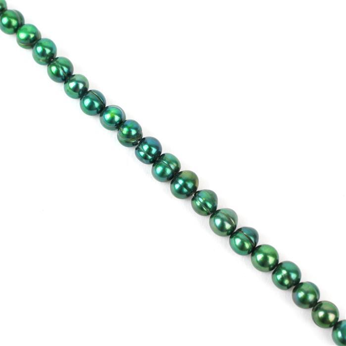 Dark Green Freshwater Cultured Pearl Potato Beads Approx 6x7mm, Approx 38cm Strand