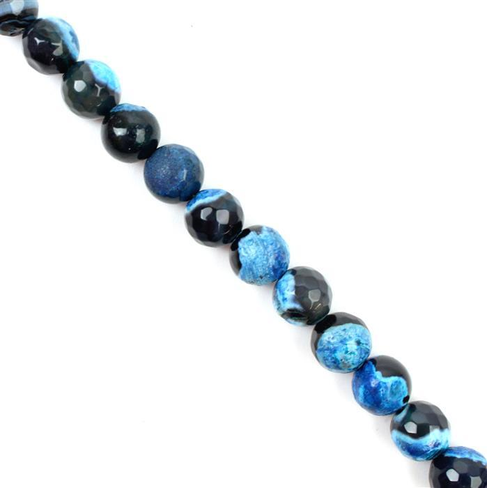 260cts Black & Blue Agate Faceted Rounds Approx 10mm, 38cm strand