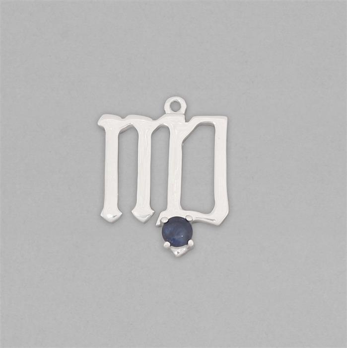 Zodiac Collection: 925 Sterling Silver Virgo Charm Approx 17x13mm Inc. 0.16cts Blue Sapphire Brilliant Round Approx 3mm