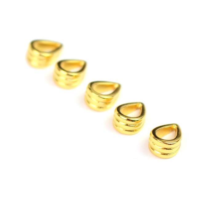 Gold Plated 925 Sterling Silver Fluted Bails - 10mm (5pc)
