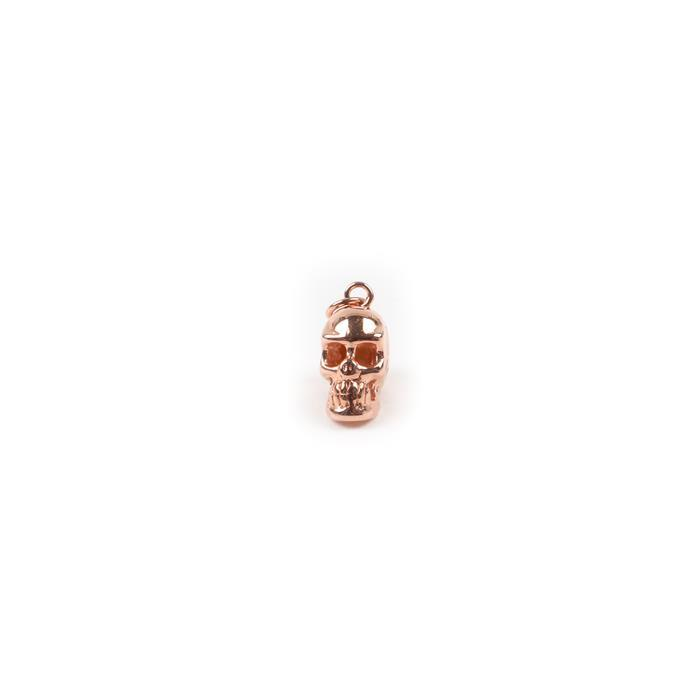 Rose Gold Plated 925 Sterling Silver Large Skull Charm Approx 15x10mm 1pc