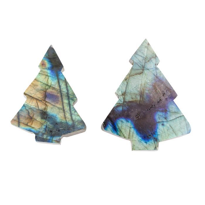 110cts Labradorite Plain Christmas Tree Shape Gemstones. Approx 30x40mm (Pack of 2)