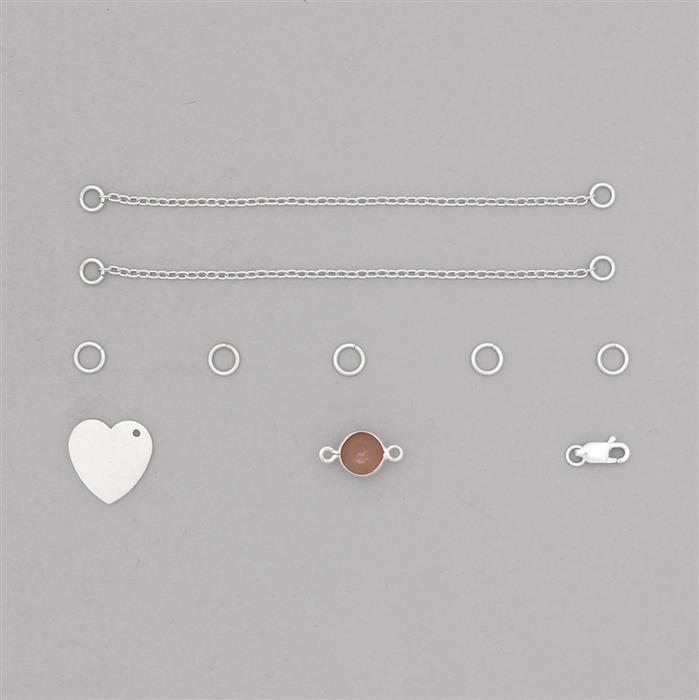 Birthstone Kit: 925 Sterling Silver Bracelet Kit Inc. 1.64cts Peach Moonstone Brilliant Round Approx 8mm (10pcs)