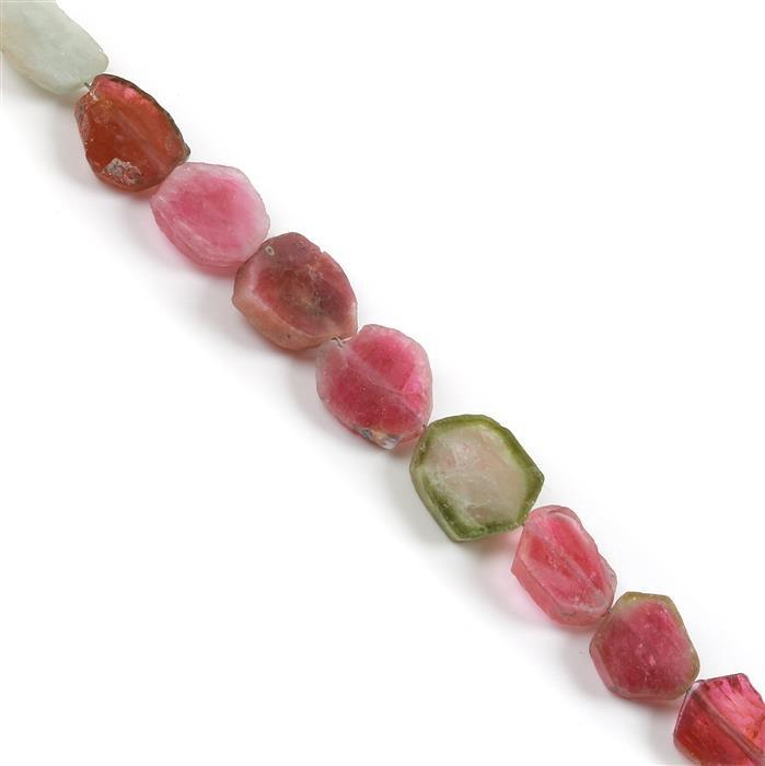 32cts Watermelon Tourmaline Plain Slices Approx 8x6 to 11x9mm, 8cm Strand.