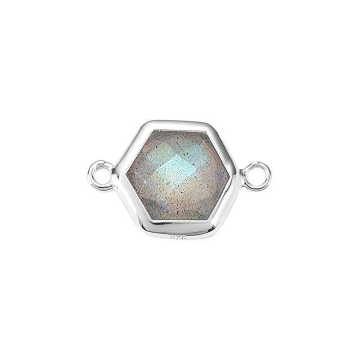 925 Sterling Silver Bezel Connector Approx 16x10mm Inc. 2cts Labradorite Briolette Cut Hexagon Approx 8mm.