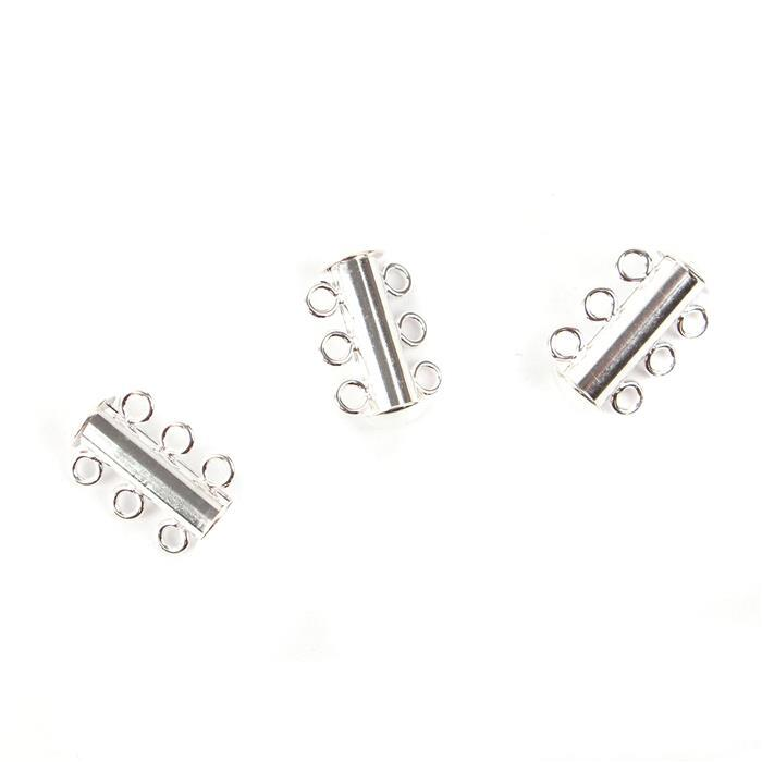925 Sterling Silver Three Rows Clasps Approx 17x11mm 3pcs