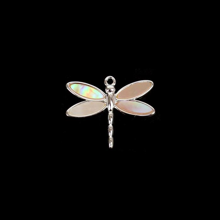 925 Sterling Silver Pink Shell Dragonfly Pendant Approx. 15 x 12mm