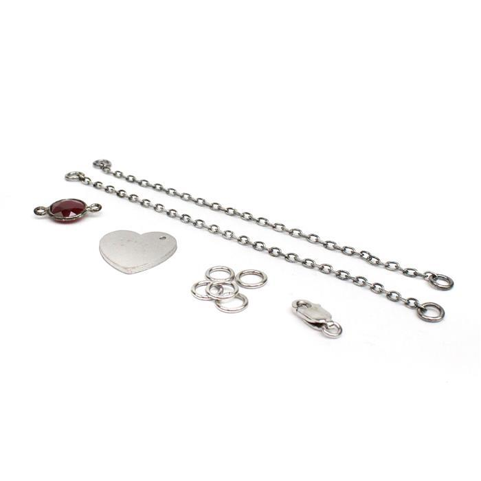 Birthstone Kit: 925 Sterling Silver Bracelet Kit Inc. 2.35cts Ruby Faceted Round Approx 8mm (10pcs)