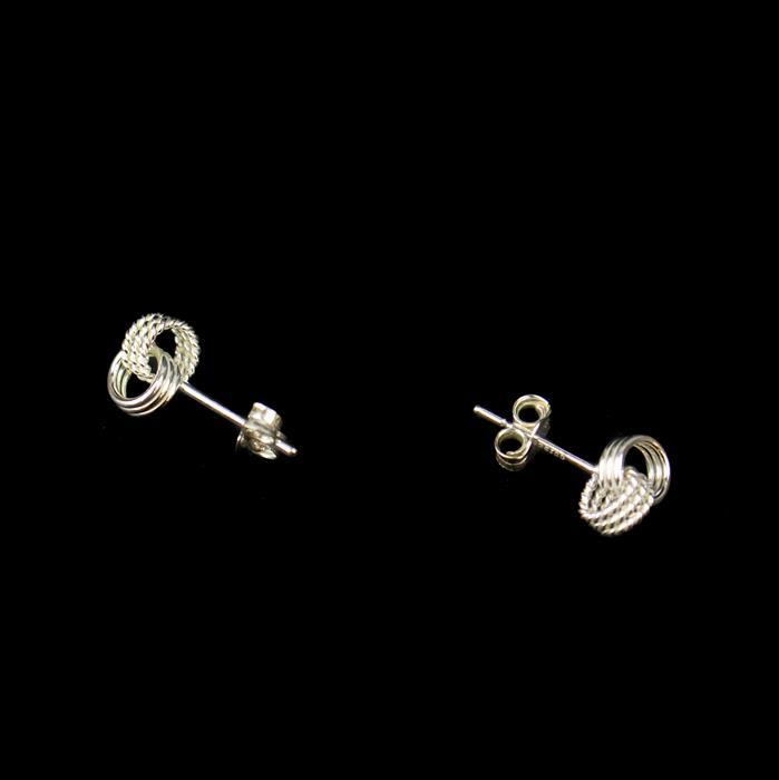 Sterling Silver Textured and Polished Knot Stud Earrings Approx 5x7mm