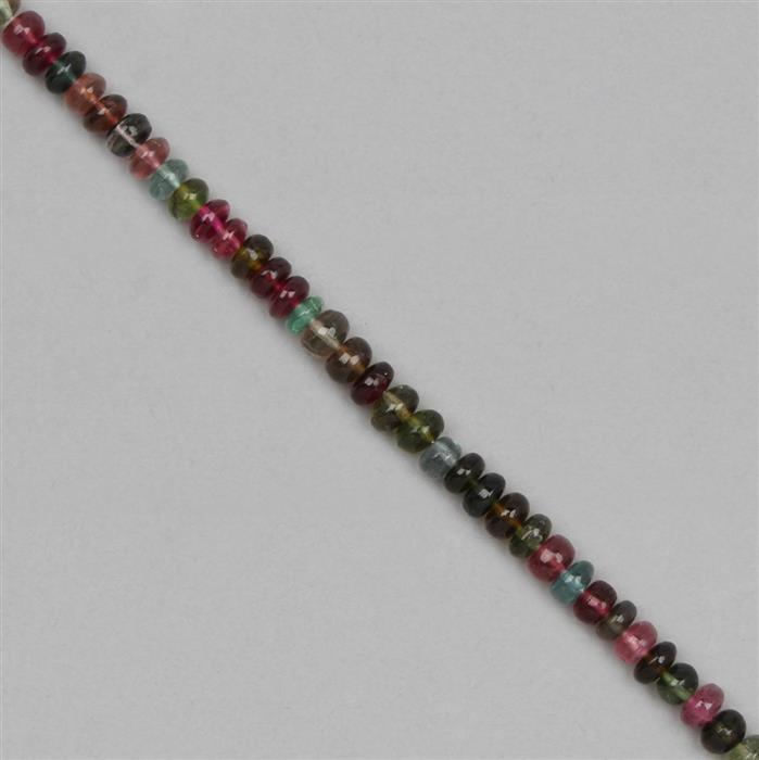32cts Multi Colour Tourmaline Graduated Plain Rondelles Approx 3x1 to 5x3mm,  18cm Strand.