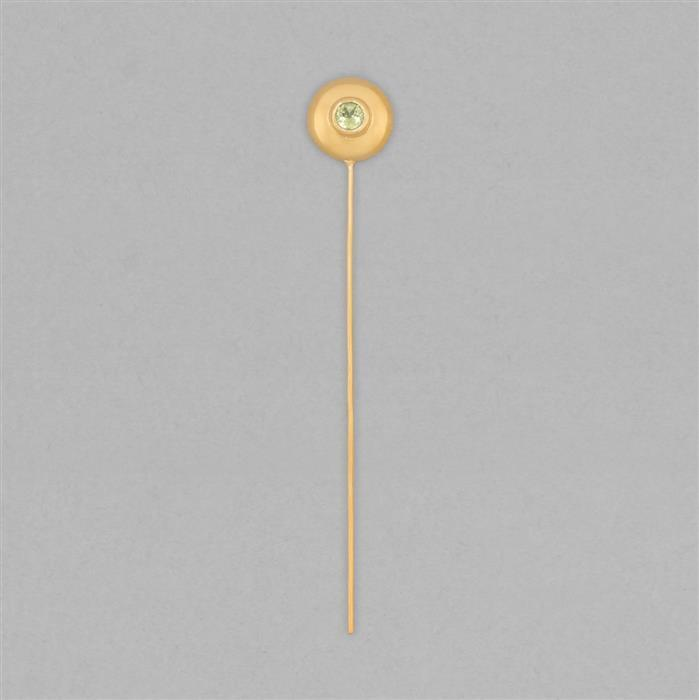 Gold Plated 925 Sterling Silver Gemset Birthstone Headpin Approx 59x9mm Inc. 0.12cts Peridot Round Approx 3mm