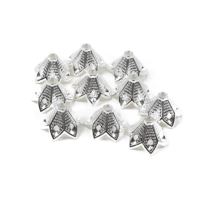 Silver Plated Faceted Caps Approx 17mm 10pk