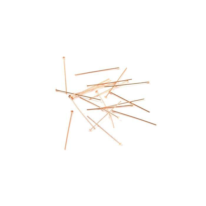 925 Rose Gold Plated Sterling Silver Headpins - 25mm (0.5mm) - (20pcs/pk)