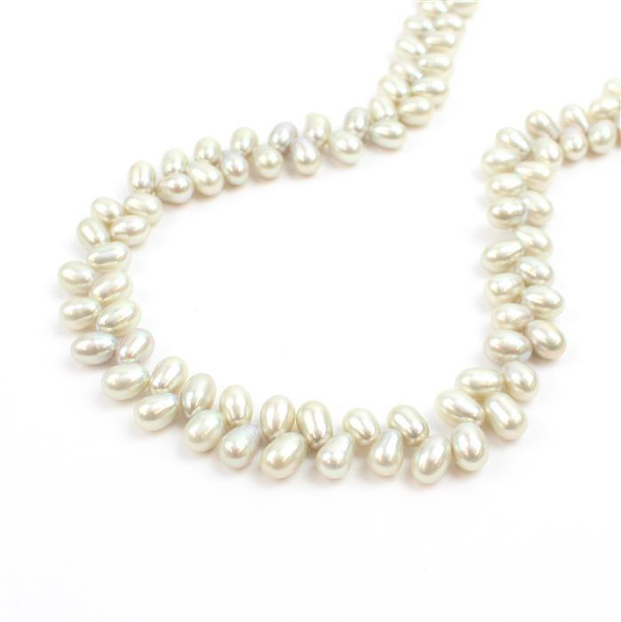 Silver Freshwater Cultured Wheat Pearls Approx 5-6mm, Approx 38cm/strand