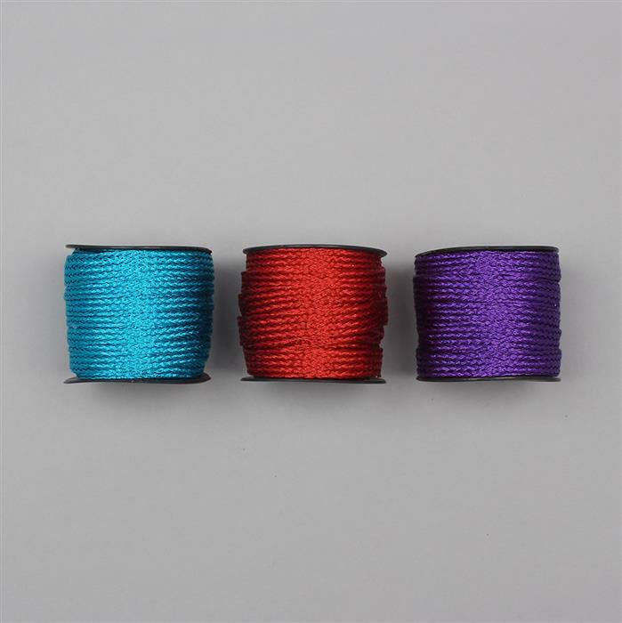 30m Neon Blue, Red And Purple Colour Zari Woven Ribbon Width Approx 12mm (3pcs)