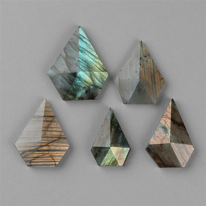 195cts Labradorite Faceted Pentagons Approx 20x14 to 38x22mm. (5pcs)