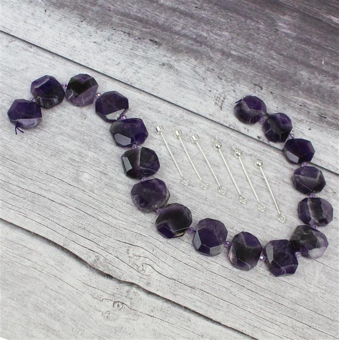 Instant Pendants with 640cts Amethyst Faceted Slabs