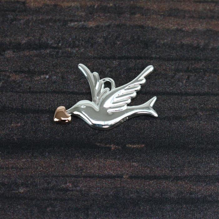 Two Tone Gold Plated 925 Sterling Silver Dove Pendant Approx. 20 x 14mm