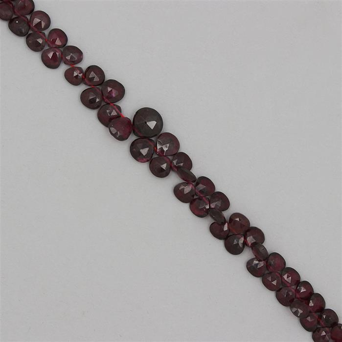 115cts Garnet Graduated Faceted Drops Approx 4 to 8mm, 25cm Strand.