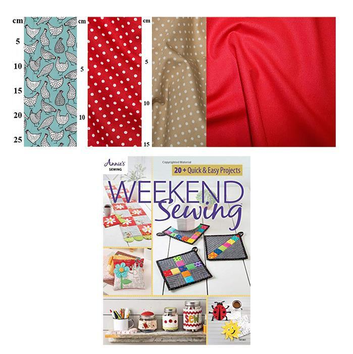 Annie's Weekend Sewing Hens on Duck Egg Kit: Book, Fabric (2m)