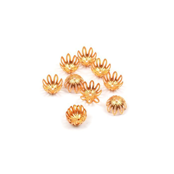 Golden Brass Bead Caps Approx 12mm 10pk