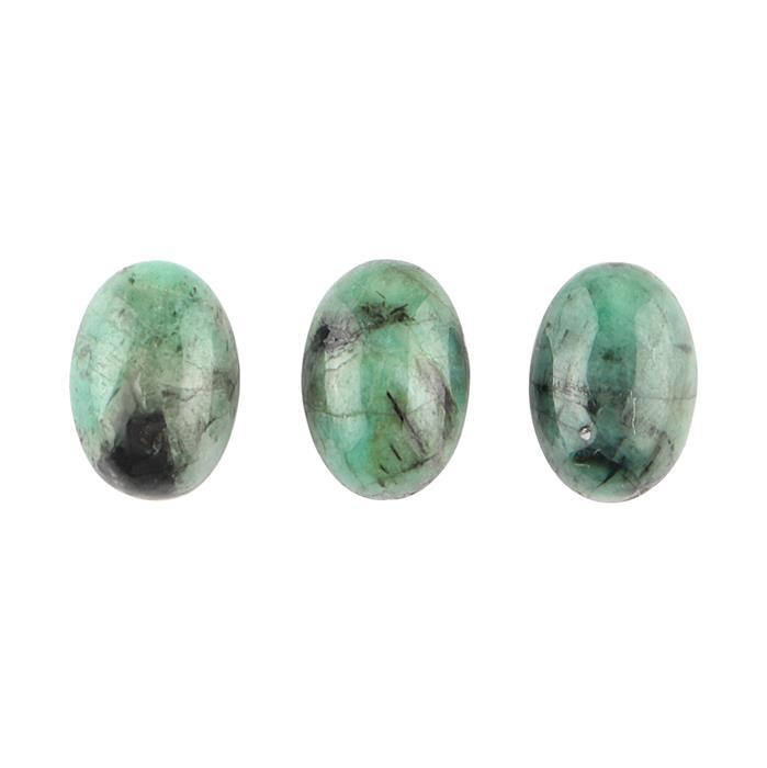 10cts Emerald Oval Cabochons Approx 13x9mm. (Pack of 3)