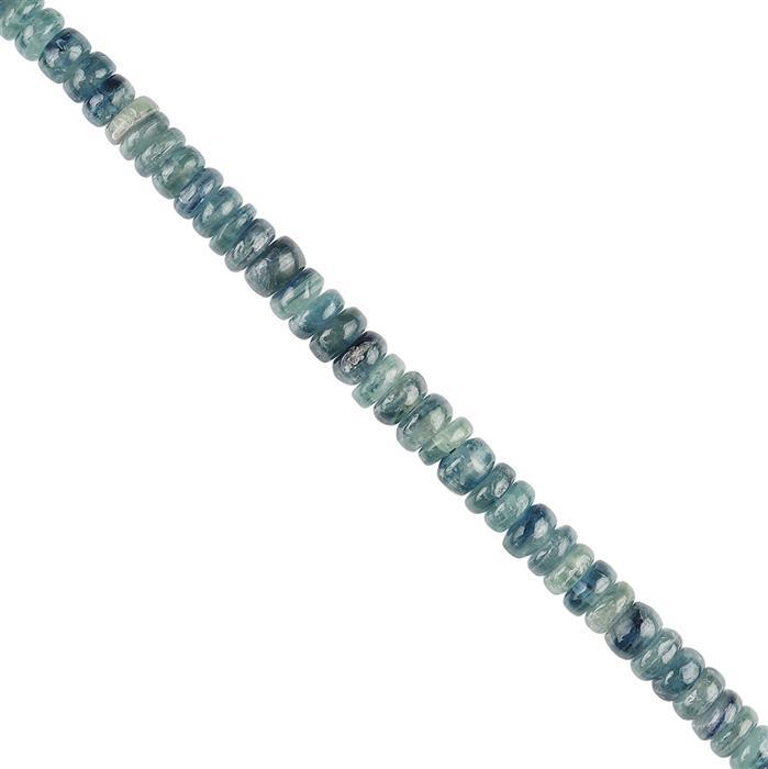 95cts Brazilian Kyanite Plain Rondelles Approx 6x2mm, 20cm Strand.