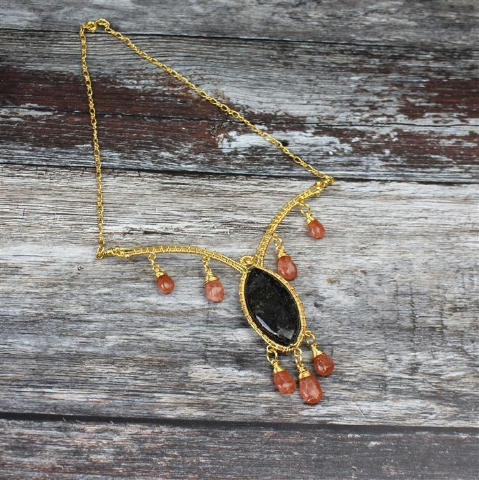 Black Sun: Gold vein black stone marquise strand, sunstone pears & gold colour wires