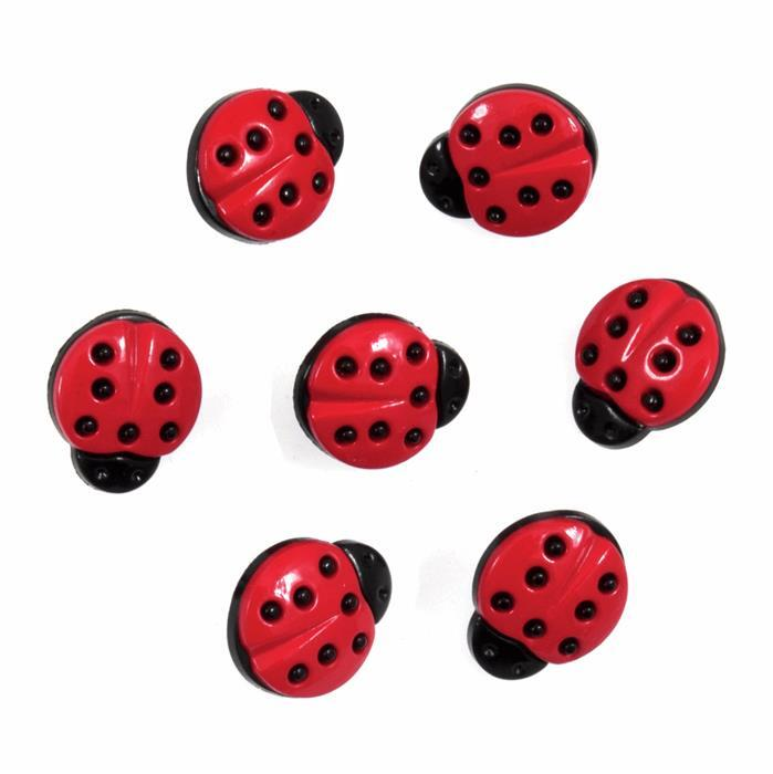 Ladybird Buttons: Pack of 7