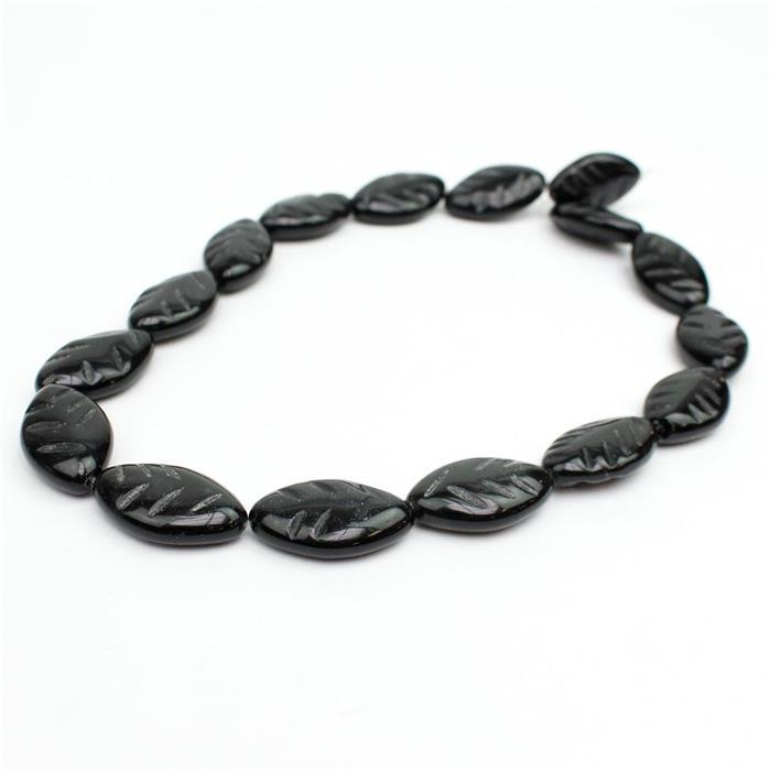 240cts Black Obsidian Carved Leaves Approx 25x15mm, Approx 38cm strand
