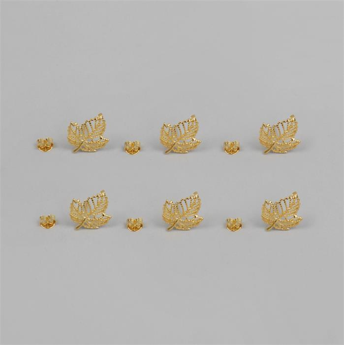 Gold Plated 925 Sterling Silver Leaf Earring Post with Butterfly backs, 3pairs/bag
