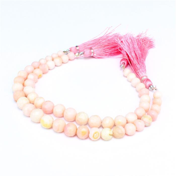 Double Up! 2x 58cts Pink Opal Graduated Faceted Rounds Approx 5 to 9mm, 18cm Strand.