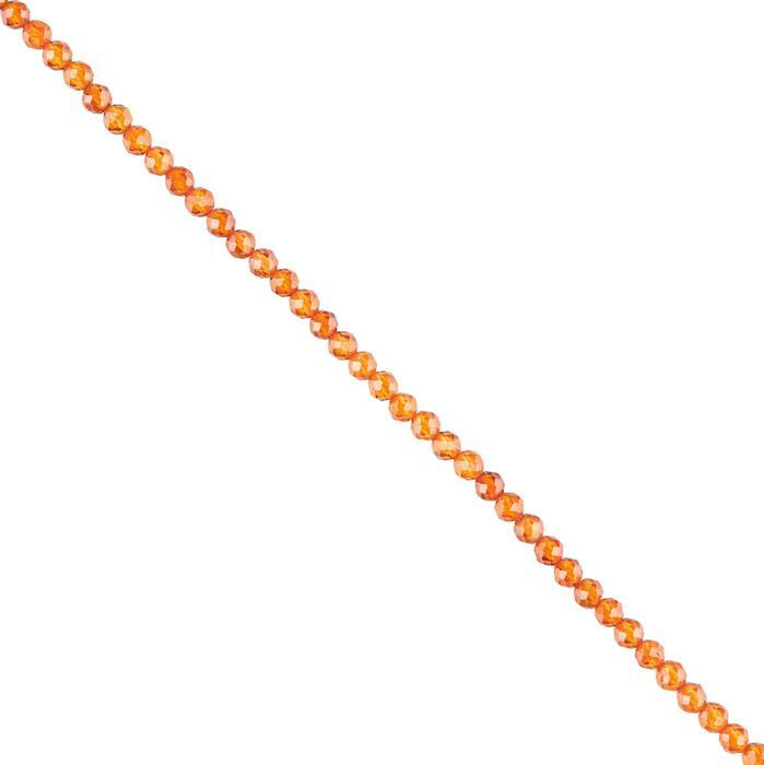 15cts Hessonite Garnet Micro Faceted Rounds Approx 2mm, 38cm Strand.