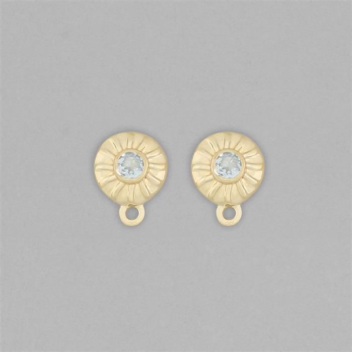 Gold Plated 925 Sterling Silver Stud Earrings with Loops Approx 11x8mm Inc. 0.15cts Aquamarine Round Approx 3mm