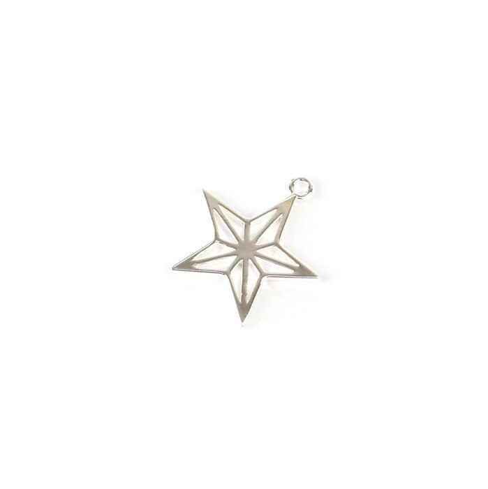 925 Sterling Silver Geometric Star Pendant 20mm, 1pc