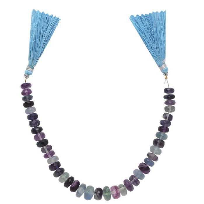 110cts Multi Colour Fluorite Graduated Faceted Rondelles Approx From 6x3 to 8x5mm, 17cm Strand.