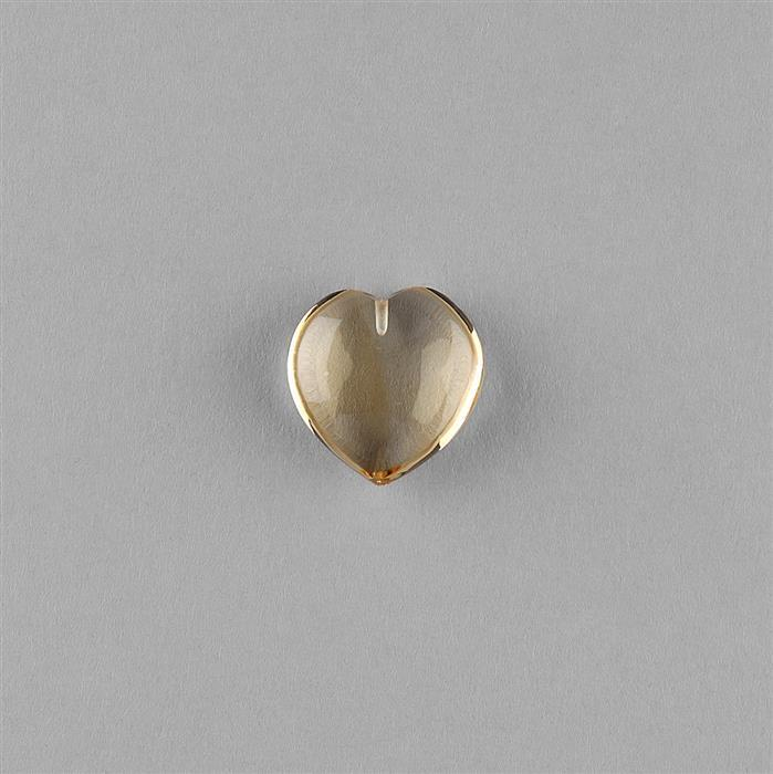 11cts Citrine Plain Puffy Heart 16mm.