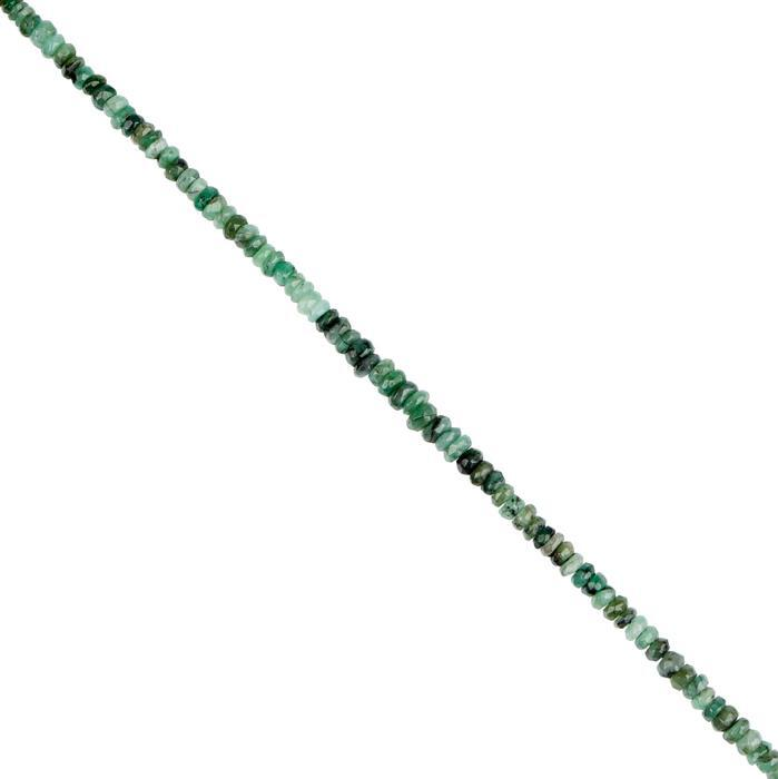 44cts Emerald Graduated Faceted Rondelles Approx 2x1 to 5x2mm, 30cm Strand.