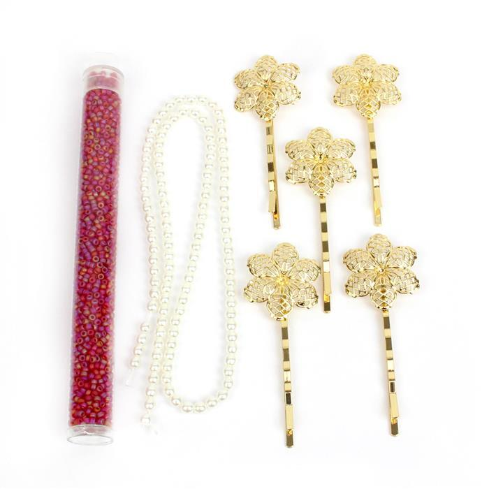 Ruby Chic INC White Glass Pearls, Transparent Red 11/0s & NEW Gold Floral Filigree Pins