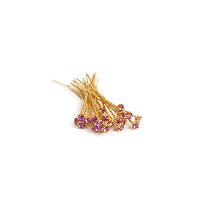 Swarovski Headpin 17704 Blush Rose with Gold Plating, PP24, 0.05x3.81cm, 12pk