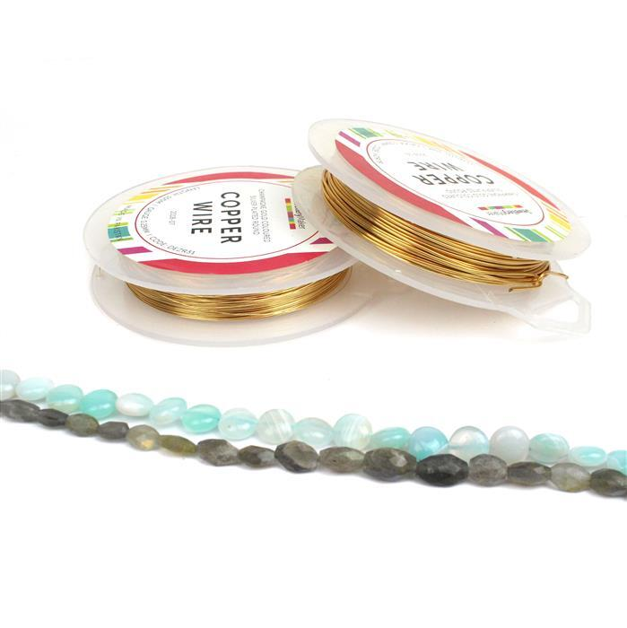 Mystery & Magic INC Labradorite Ovals, Aqua Stripe Agate Puffy Coins & Champagne Wire
