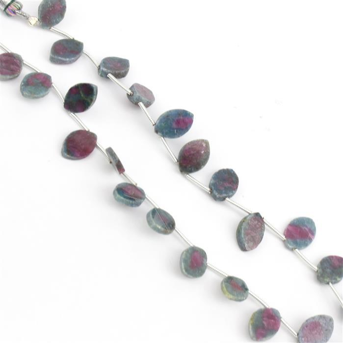Double Trouble 2x 46cts Ruby Zoisite Top Drilled Plain Marquises Approx 12x8mm,18cm Strand