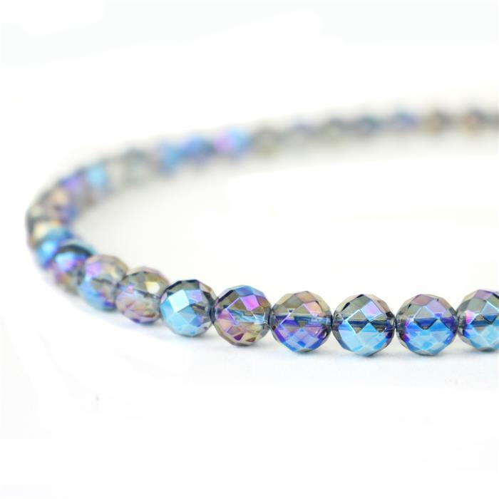 150cts Blue Coated Clear Quartz Faceted Rounds Approx 8mm, 38cm