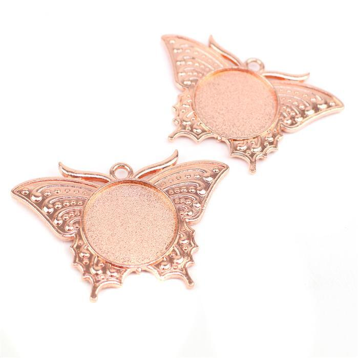 Rose Gold Colour Bezel Pendant in Butterfly Shape Approx 34x49mm (Set of 2)