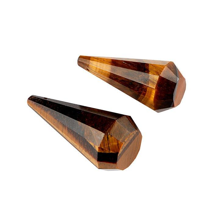 90cts Tiger Eye Faceted Elongated Drilled Fancy Drops Approx 34x13 to 39x16mm. (Pack of 2)