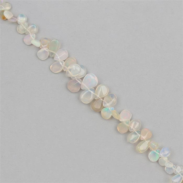22cts Ethiopian Opal Graduated Plain Pears Approx 9x7 to 4x3mm, Strand 18cm