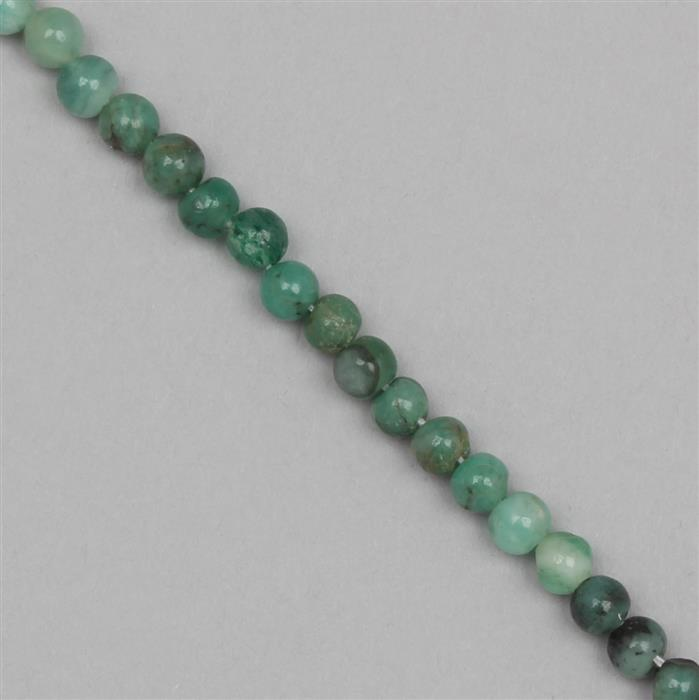 55cts Shaded Emerald Graduated Plain Rounds Approx From 4 to 5mm, 30cm Strand.